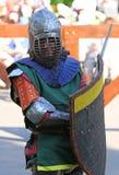 Un chevalier médiéval avant une bataille Portrait Images stock