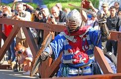 Un chevalier médiéval dans la bataille Photographie stock libre de droits