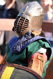Un chevalier médiéval en portrait de bataille Images libres de droits