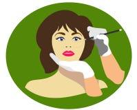 Un chirurgien plasticien dessine des lignes tirées sur le visage du patient Cosmétologie et soin du ` s de femmes plat illustration de vecteur
