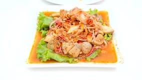 Un cibo della persona piccante mescola l'insalata del fungo stock footage