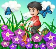 Un ciclismo del ragazzo nel giardino con i fiori e le farfalle Fotografie Stock Libere da Diritti
