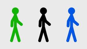 Un ciclo di camminata di tre caratteri video d archivio