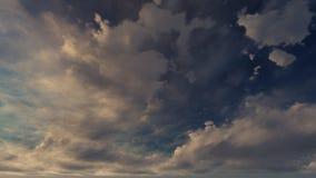 Un ciel bleu-foncé avec les nuages blancs Photographie stock