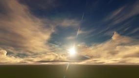 Un cielo azul claro con las nubes blancas en un campo Imágenes de archivo libres de regalías