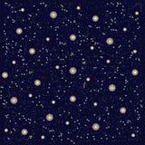 Un cielo nocturno estrellado Fondo azul marino, blanco que brilla intensamente, amaneceres amarillos Foto de archivo