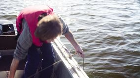 Un científico que recoge la muestra de agua del lago almacen de video