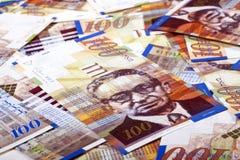 Cientos fondos sucios de las cuentas de los shekels Imagenes de archivo