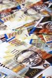Cientos fondos sucios de las cuentas de los shekels Imagen de archivo libre de regalías
