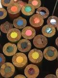 Un cierre encima de la vista de lápices unsharpened Imágenes de archivo libres de regalías