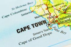 Un cierre encima del tiro de Cape Town en cierta parte de un mapa de Suráfrica fotos de archivo libres de regalías