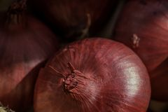 Un cierre extremo para arriba de un bolso del mercado de los granjeros de cebollas imagen de archivo