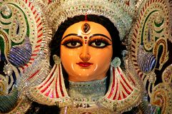 Un cierre para arriba de un ídolo de Durga. Fotografía de archivo libre de regalías