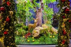 Un ciervo del ` del cuento de hadas 12 meses de ` en el cuadrado de Manezhnaya durante la celebración de la Navidad y del Año Nue foto de archivo libre de regalías