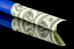 Un circulated currency in a mailing tube Stock Images