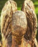 Un cisne de madera mira abajo la tierra Fotografía de archivo