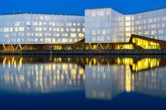 The UN City in Copenhagen and its reflection stock image