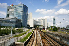 UN City in Vienna from the railroad. Glass towers, Vienna International Centre and United Nations headquarters in Vienna, Austria Royalty Free Stock Photos