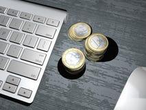 Un clavier d'ordinateur, bouton de recherche moteur de recherche, banque en ligne, banque d'Internet Investissement d'argent Euro Images libres de droits