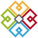 Un cloverleaf di quattro colori Fotografia Stock