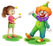 Un clown et une jeune fille illustration libre de droits