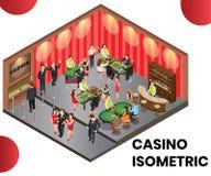 Un club del casino donde la gente está jugando concepto isométrico de las ilustraciones fotos de archivo