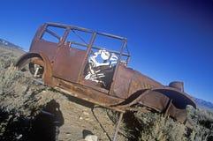 Un coche abandonado con un esqueleto de la vaca que conduce en el parque nacional del gran lavabo, Nevada Imagen de archivo libre de regalías