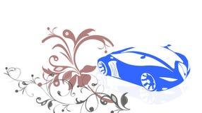 Un coche azul con el fondo floral imágenes de archivo libres de regalías