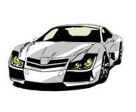Un coche de deportes de los tebeos en el fondo blanco Imagen de archivo