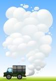 Un coche militar con humo ilustración del vector