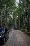 Un coche se parquea en el borde de la carretera de un camino forestal Foto de archivo