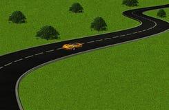 Un coche solitario en una carretera con curvas ilustración del vector