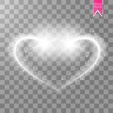 Un coeur brillant miroite sur un fond transparent Fond d'or avec des étincelles Étoile de Noël de vol le long de Images stock