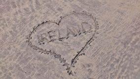 Un coeur dans le sable pour l'Irlande Photo stock