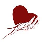 Un coeur dans un logo ou un signe de main illustration libre de droits