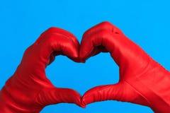 Un coeur de cuir rouge Photographie stock