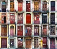 Un colage de 28 puertas del vintage en Odessa, Ucrania Fotografía de archivo