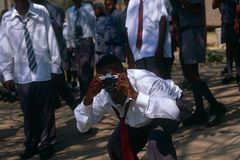 Un écolier adolescent, Afrique du Sud Images libres de droits