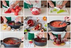 Un collage étape-par-étape de faire la confiture de tomate Image libre de droits