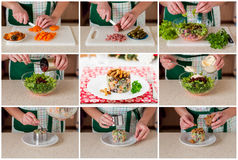 Un collage étape-par-étape de faire la salade allemande de Noël Photo stock