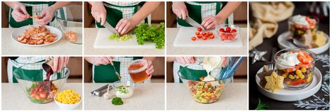 Un collage étape-par-étape de faire la salade de crevette rose Photos libres de droits