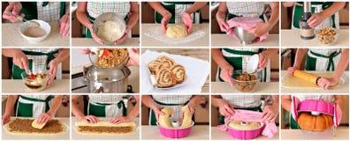 Un collage étape-par-étape de faire Potica, petit pain slovène d'écrou Photographie stock libre de droits