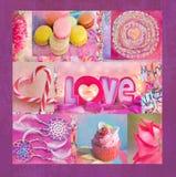 Un collage coloré intéressant avec des fleurs, macaronis, petits pains, lucettes en forme de coeur Vous pouvez l'employer pour im Photographie stock
