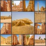 Un collage de beau temple antique de photos de la Médina-Habu l'Egypte, Luxor photo libre de droits