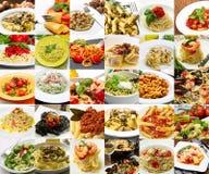 Un collage de différents plats de pâtes de cuisine italienne Images stock