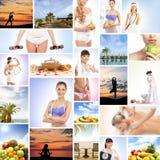 Un collage de imágenes con las frutas frescas y las mujeres de relajación Fotos de archivo libres de regalías