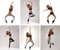 Un collage de imágenes con las mujeres de salto jovenes Fotografía de archivo libre de regalías