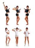 Un collage de jeunes femmes dans des vêtements sportifs Photo stock