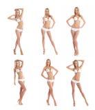 Un collage de jeunes femmes sexy dans des maillots de bain blancs Image libre de droits