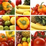 Un collage de la nutrición con muchas frutas sabrosas Fotografía de archivo libre de regalías